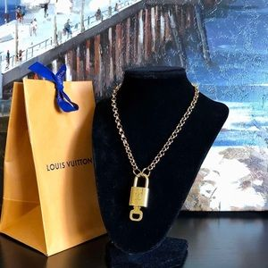 Louis Vuitton Gold tone Padlock & Key Necklace